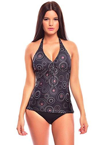 1133-f4589 Costume da donna a due pezzi con top lungo push up, ragazza donna, 1074AS Black / Brown printed, 18