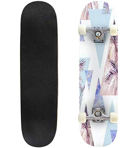 Classic Concave Skateboard Abstract Summer Geometric Seamless Pattern Triangle with Palm Tree Longboard Maple Deck Extreme Sports and Outdoors Double Kick Trick for Beginners and Professionals