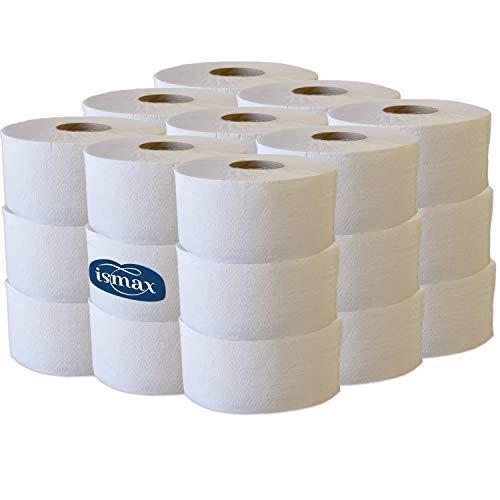 Ismax Rollos Papel Higiénico Industrial Eco Reciclado Baño WC Pack 18 Unidades - 400gr Rollo - 204 Metros Water Ecologico Natural XXL - 12150 (Capas 1)