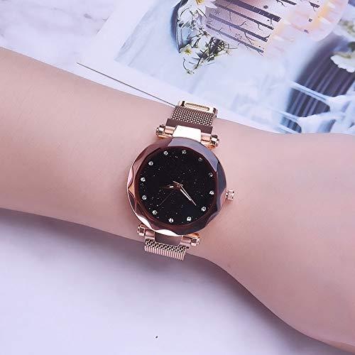 Qiuge Relojes de moda for mujer, señoras reloj de pulsera, reloj estrellada, Sky Watch estrellada, estrellada magnética Sky Watch, malla señoras del reloj del imán de la hebilla del diamante estrellad
