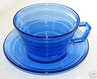Hazel Atlas Moderntone Cobalt Blue Cup and Saucer Depression Glass
