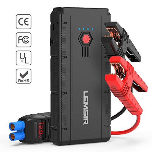 LEMSIR 1500Amps V2 QDSP 1500A Peak 12V Portable Car Lithium Jump Starter up to 8.0L Gas Or 6.2L Diesel, Auto Battery Booster Power Pack with Smart Jumper Cables
