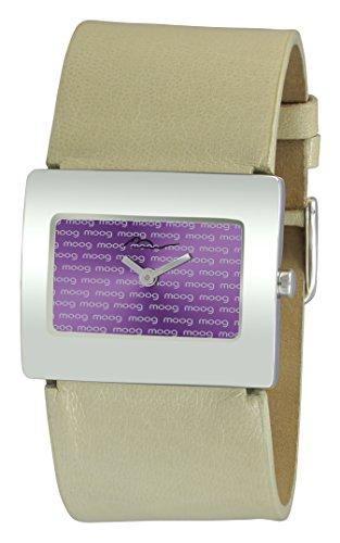 Moog Paris Supra Reloj para Mujer con Esfera Púrpura, Correa Blanca de Piel Genuina - M41642-013