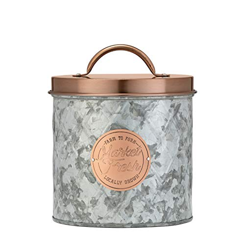 Amici Home Bristol Storage Canister Metal Can 84 Fluid Ounces Galvanized and Copper