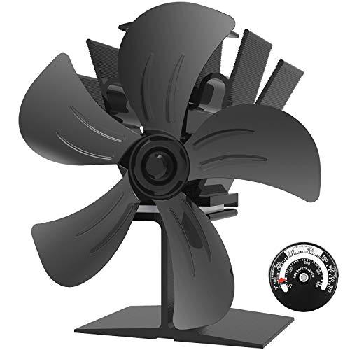 Ofenventilator - Stromloser Ventilator Für Holz/holzofen/kamin, Hitze Powered Kaminventilator Mit 5 Rotorblätter Und Kein Lärm, Umweltfreundlich, Schwarz