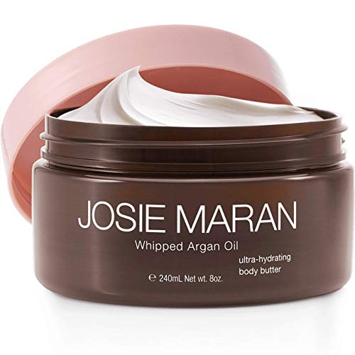 Josie Maran Whipped Argan Oil Body Butter - Immediate, Lightweight, and Long-Lasting Nourishment to Soften and Hydrate Skin (240ml/8.0oz, Unscented)