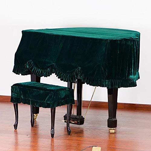 Dhl driehoekige dikke piano stofdichte afdekking volledige afdekking van de kruk uit fluweel afdekking piano stof (kleur: groen + Double Stool Set), maat: 230 cm
