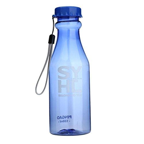 STRIR Botella de Agua Deporte 550ml, Eco-Friendly de plastico - sin BPA, Reutilizables Botellas Agua para niños, Sport, Yoga, Gym, Oficina, Senderismo, Viajes Agua Botella a Prueba de Fugas (Azul)