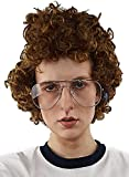 Brown Afro Nerd Wig + Glasses Costume Set. Geek Costume Wigs For Mens Adult Halloween Party 80s