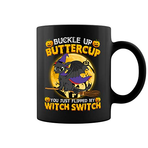 Buckle Up Buttercup Witch Swith Toothless Night Fury Dragon Funny Taza de cerámica de café, 325 ml y 445 ml (negro, 11 oz)