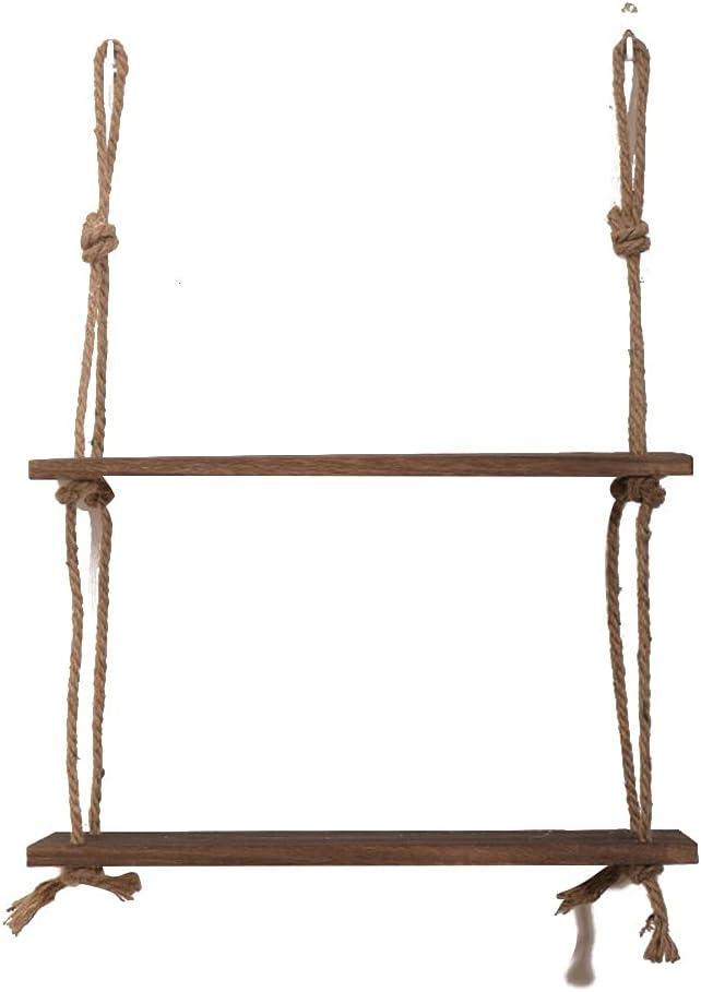 HTTMHU Wooden High order Hanging Shelf Swing Rope Arlington Mall Shelves 3 J Tier Floating