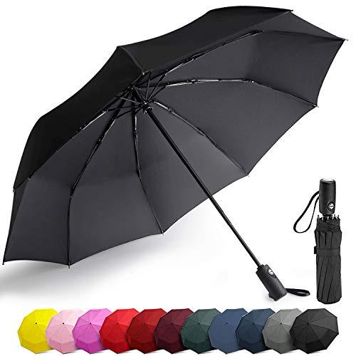 Balnore Regenschirm Automatischer Taschenschirm 9-Rippe Regenschirm Reise windundurchlässiges Mit 210T-Material Teflon, Schirm für Reisen & Business für Frauen und Männer, Schwarz