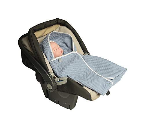MoMika Einschlagdecke, Universal für Babyschale, Autositz, für Kinderwagen, Buggy oder Babybett, aus Waffelpique (Blue)
