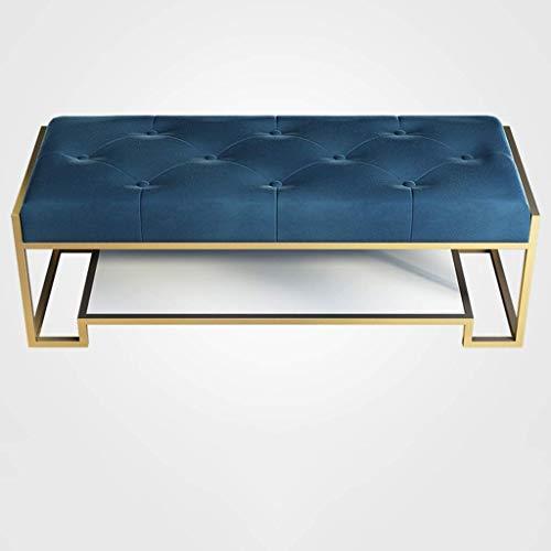 DXMRWJ Zapatero Moderno otomano tapizado en Metal con Asiento de Franela Acolchado con Botones, Estante Simple para Zapatos para Entrada, Pasillo, Sala de Estar (Color: Azul Oscuro, Tamaño: 100 cm
