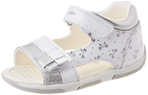 Geox Baby-Mädchen B TAPUZ Girl Sport Sandal, White/Silver, 22 EU