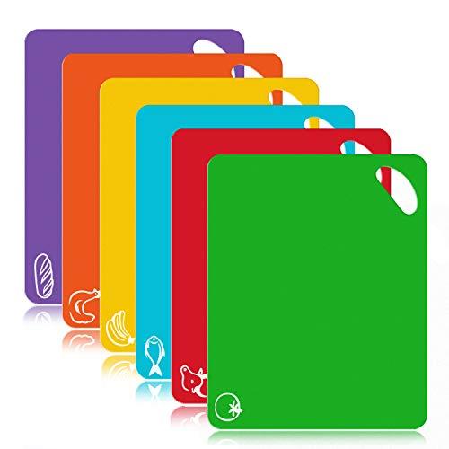 Olivivi Farbkodierte Schneidebretter Set BPA-frei Antibakterielle Kunststoff Küchenbretter Spülmaschinenfeste Frühstücksbretter Hackbretter 31 * 38cm