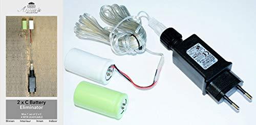 Coen Bakker Batterie Netzteil Adapter 2X C Baby LR14 Batterien 3,2V Wandler 4m Kabel Netzteil