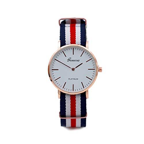 TrifyCore Reloj de Pulsera de Cuarzo analógico Reloj de Pulsera de Cuarzo analógico Reloj de Pulsera Rayado de Cristal Colorido 7 Líneas (Blanco,Rojo y Negro)