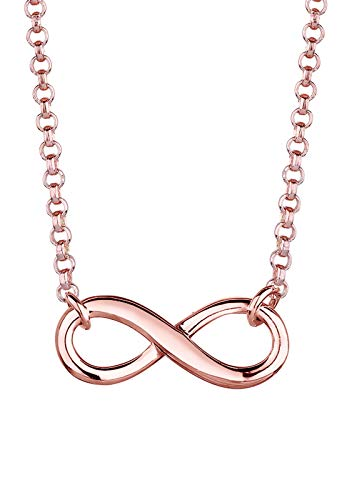 Elli Women's 925 Sterling Silver Rose Gold Plated Infinity Symbol Pendant Love Friendship Necklace - 38cm length