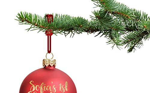 ORNAMENT ANCHOR Christmas Ornament Hooks | No-Slip Ornament Hangers for Xmas | No More Broken Ornaments | Kid & Pet Safe | Heavy Duty & Strong | for Small or Large Ornaments (Red, 24 Count)
