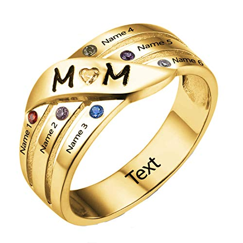 Engraved 1-6 Name MOM Infinity Ring Personalized Birthstone Family Ring Custom Mother's Day Birthday Valentine's Day for Mom Grandmother Gold P 1/2