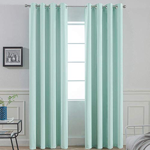 Yakamok Treatment Blackout Thermal Insulated Room Darkening Solid Grommet Curtains/Drapes for Bedroom,Bonus 2 Tie Backs Included (Aqua,52x84-inch)