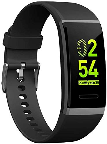 JSL Reloj inteligente Bluetooth Fitness Tracker con pantalla táctil, monitor de frecuencia cardíaca, impermeable, IPX68, llamada, SMS, pulsador, elegante pantalla grande, pulsera deportiva negro-negro
