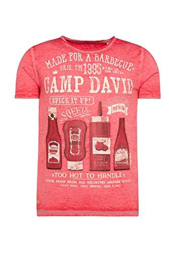 Camp David Herren T-Shirt mit Ausbrennern und Used Print
