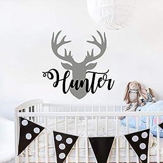 Personalized Boy Name With Deer Antlers Wall Decal Nursery. Deer Head Wall Vinyl Sticker. Rustic Nursery Wall Decor. Baby Name Hunting Themed Woodland Wall Decor. Custom Name Wall Decals for Boys vs59