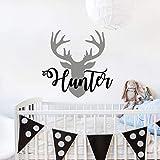 Personalized Boy Name With Deer Antlers Wall Decal Nursery. Deer Head Wall Vinyl Sticker. Rustic Nursery Wall...