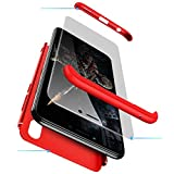 cmdkd Funda Compatible con Huawei Honor Play,Case Bumper 3 en 1 Estructura 360 Grados Integral para Ambas Caras Hard Skin Carcasa + Cristal Templado.Rojo