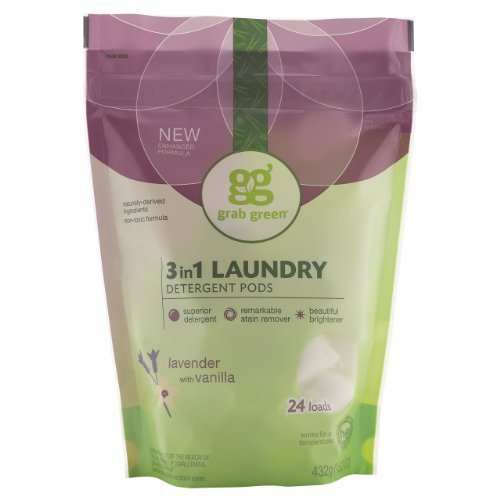 Grab Green Natural 3-in-1 Laundry Detergent Pods, Lavender with Vanilla, 24 Loads 3 pack 72 loads total
