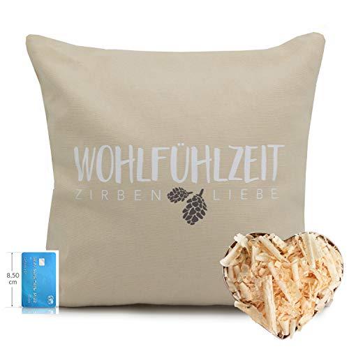 Herbalind Zirbenkissen Linz mit Reißverschluss hochwertige Zirbenflocken - Bezug aus 100% Baumwolle ohne Zusatzstoffe -Duftkissen, Zierkissen, Farbe beige, Geschenke Frauen 40x40cm