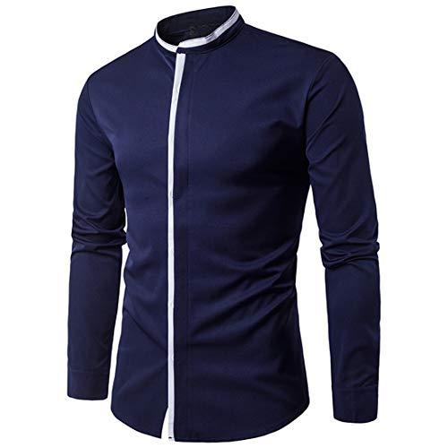 JELLYB Hombres Camisa Hombres Negocios Camisa Gentleman Elegante Cómodo Botón de Moda Manga Larga Primavera y Otoño Clásico Todo Partido Boda Fiesta Trabajo Hombres Camisa