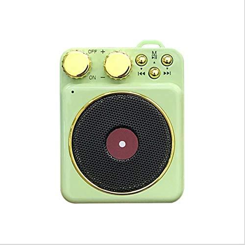 RUIXFEC Mini Portable Speaker, Plattenspieler Für Vinyl Mit Bluetooth, Creative Retro Card Atomic Plattenspieler, Player, Subwoofer, Green