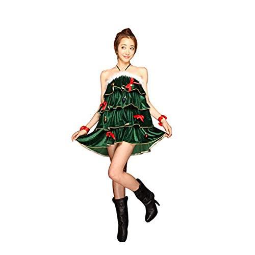 Disfraz de Cosplay de Arbol de Navidad para Mujer Vestido Halter sin Mangas de Navidad con Pantalones Cortos y...