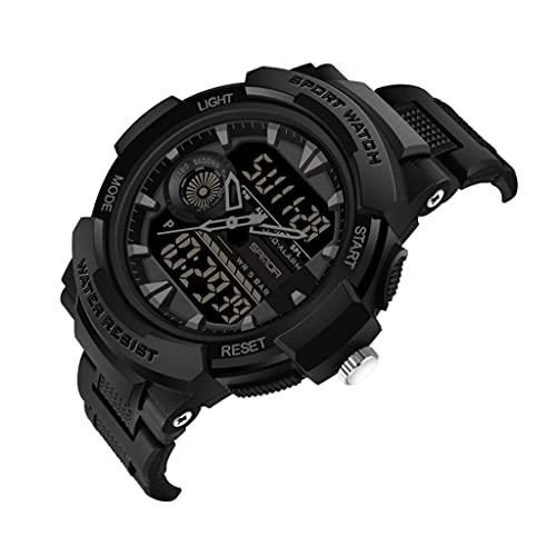 Thomm Reloj Deportivo para Hombres Double Double Pantalla Moda Moda Moda Impermeable Relojes analógicos para Hombres Reloj Táctico Muñeca Reloj De Cuarzo Negro (Color : E)
