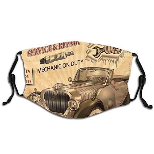 Fashion 3D Face Protect Printed,Nostalgic Car Figure with Garage Service and Repair Store Phrase Dated Faded Theme,S