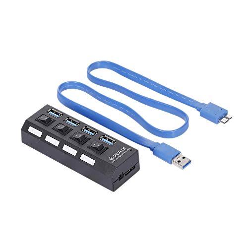 Fransande - Repartidor USB 4 Puertos USB 3.0 Hub Repartidor 4 Puertos con Interruptor para PC