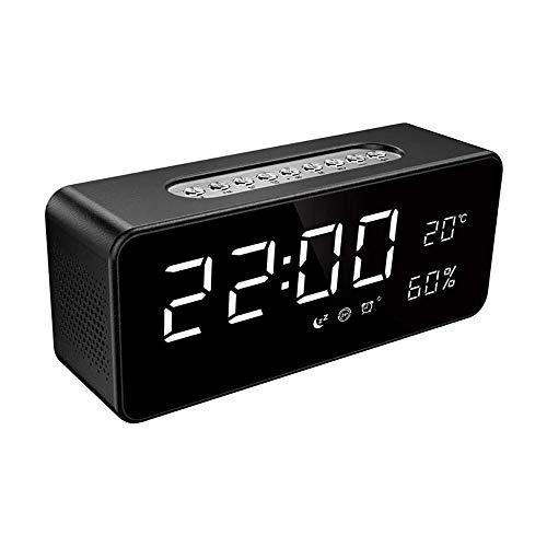 XIXIDIAN Reloj de Alarma Digital, Pantalla LED Transparente con 4 Brillo 12/44H Snooze para Viajes de Oficina de Dormitorio