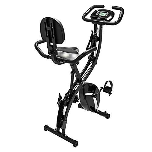 Bicicleta estática plegable 3 en 1, Bicicleta Ciclismo Indoor Fitness Bicicleta vertical 8 configuraciones renuencia Y medición frecuencia cardíaca para entrenamiento muscular-Negro 78x41x116cm