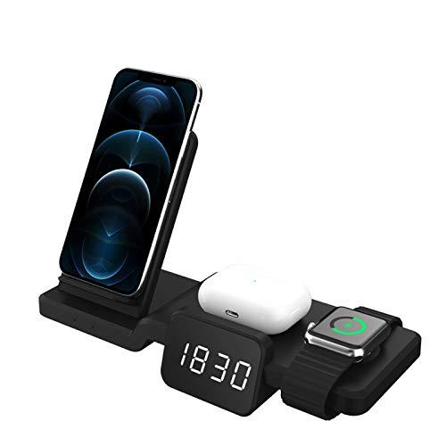 TermóMetro Digital Led Despertador ElectróNico, Soporte De Cargador InaláMbrico, para iPhone Y Cargador De Reloj 4 En 1