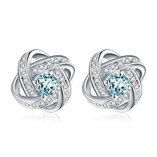 JY Joyas de novedad - Pendientes de botón de plata esterlina con topacio .925 nudos para mujeres/Azul