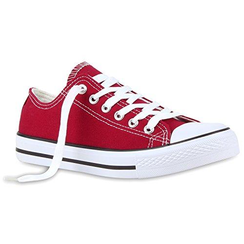 stiefelparadies Bequeme Damen Schuhe Sneakers Low Canvas Freizeit Turnschuhe 116500 Dunkelrot Arriate 41 Flandell