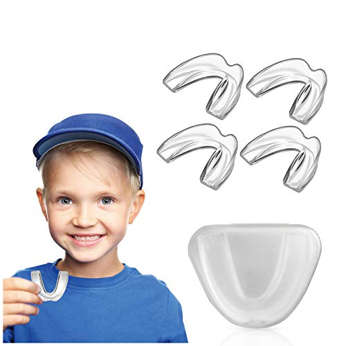 Kids Mouth Guard for Grinding Teeth, Teeth Grinding Mouth Guard for Sleep, Kids Moldable Custom Night Bite Guards, Clenching, Bruxism, Sport Athletic, Whitening Tray (4 Pack)