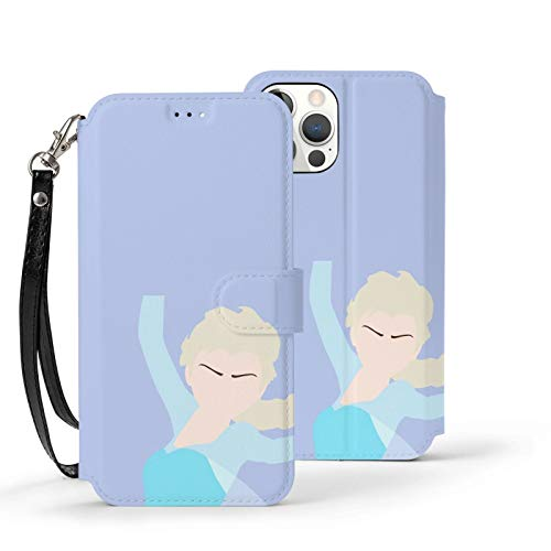 Nueey Fro-Zen A-P-L-E - Funda básica para iPhone 12 con ranura para tarjeta de piel, para niñas, color azul