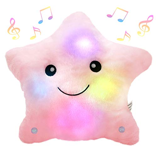Bstaofy Musical LED Twinkle Star Stuffed Animals Creative Lullaby Light up Soft Singing Pillow Plush Toys Accompany Kids Glow at Night Birthday Christmas for Girls Toddlers, Pink