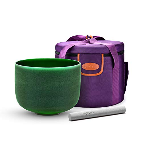 TOPFUND F Note CrystalSingingBowlHeart Chakra 10 inch with Heavy Duty Carrying Case and SuedeStriker