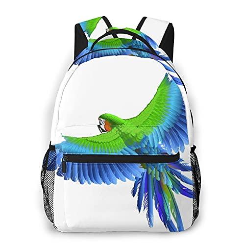 Nongmei Zaino da viaggio per laptop,pappagallo verde uccello blu ara esotica ala mosca giungla parrocchetto piuma,zainetto antifurto resistente all'acqua business sottile durevole