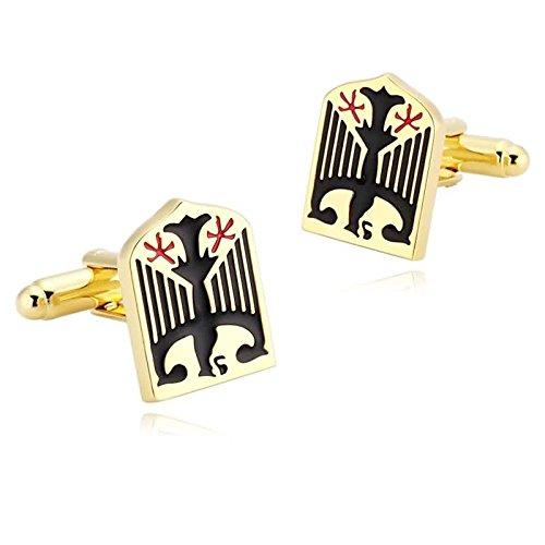 KnBoB Edelstahl Eagle Shield Manschettenknöpfe für Herren Hemd Smoking Hochzeit Gold Schwarz